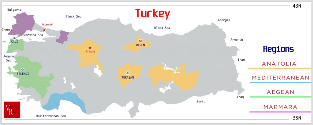 Map of Turkish Wine Regions