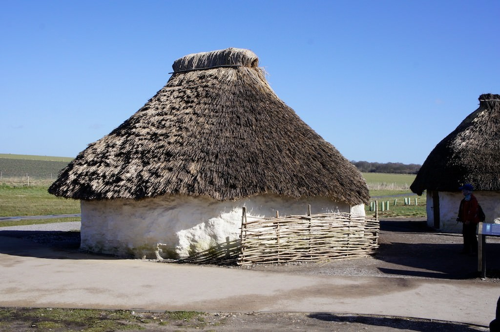 Reconstructed Neolithic houses at Stonehenge