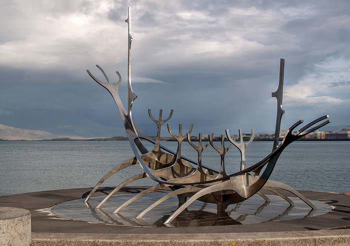 Jón Gunnar Árnason's stunning modern sculpture, Sun Voyager, faces Reykjavik's harbor. Often mistaken for a Viking longship, the sculptor called it a dream boat and represents his vision for hope, progress and freedom.