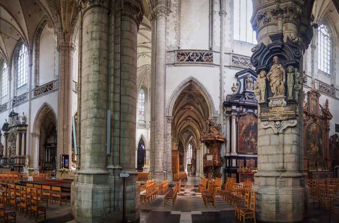Beautiful interior of the Saint Martin Church, Aalst