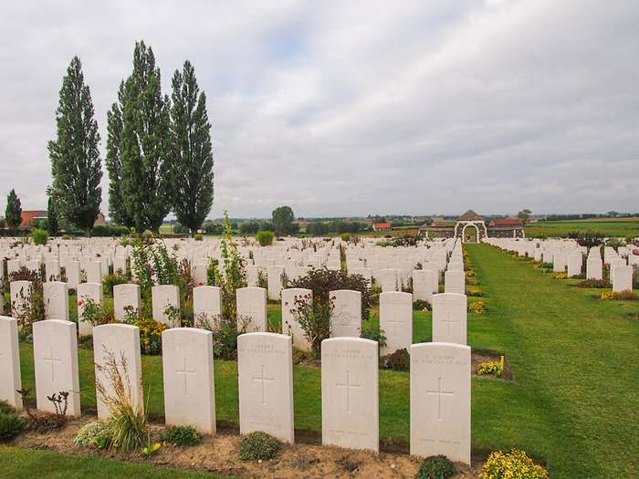 The British Tyne Cot War Cemetery is one of hundreds of war cemeteries around Ypres