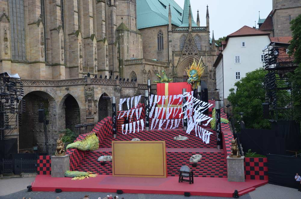 Turandot Opera on the stairs of St Mary's Cathedral  in Erfurt, Germany