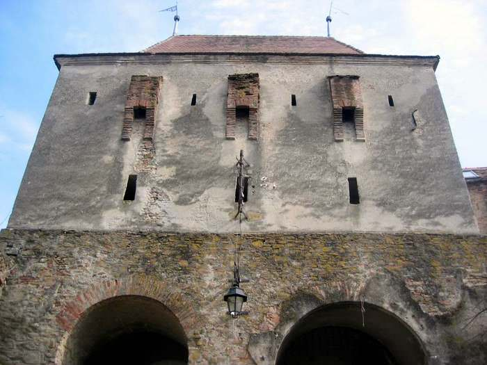 The Tailors' Tower's upper section, which was rebuilt after it exploded during the 1676 fire