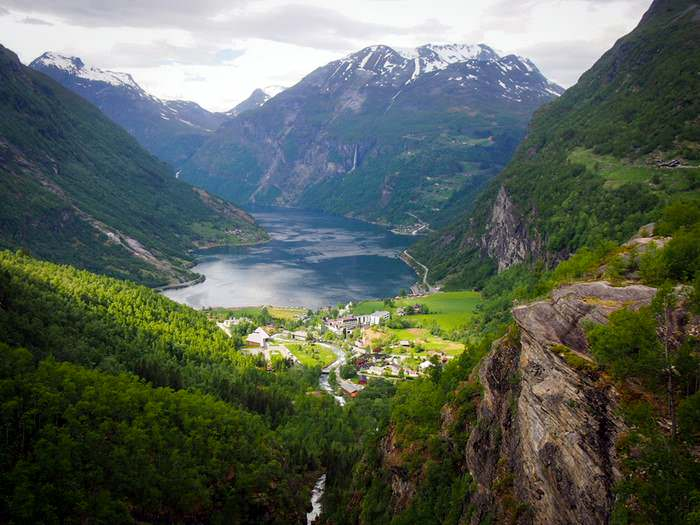 The small town of Geiranger lies at the end of the impressive Geirangerfjord