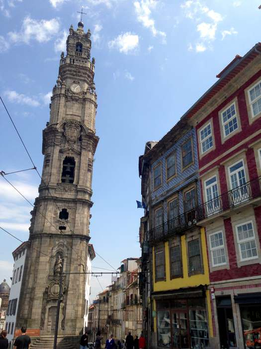 he Clerigos bell tower in Porto