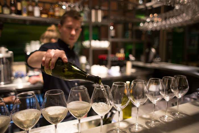 pouring wine at the Vinoteca in Kings Cross