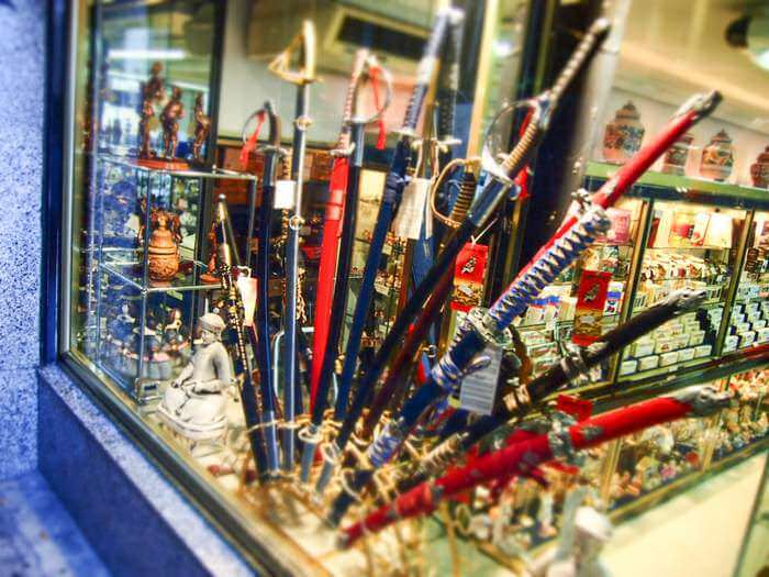 Swords displayed in One of Many Sword Shops in Toledo
