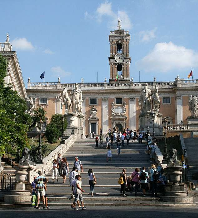 staircase leading to the  Capitoline Museum