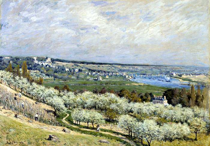 Impressionist painting by Alfred Sisley: The Terrace at Saint-Germain in Spring