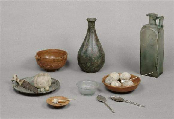 Gallo Roman artifacts, including bottles and bowls
