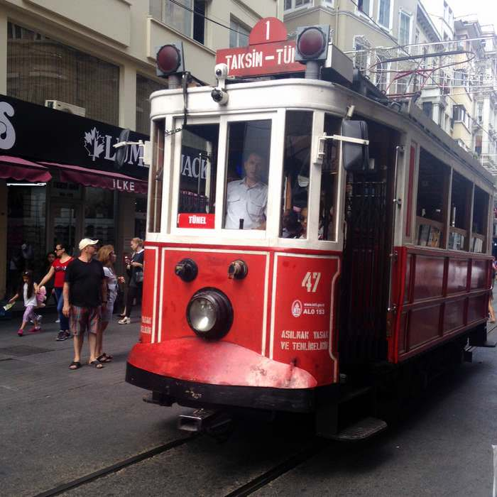 Tram in the Istiklal Caddesi neighborhood