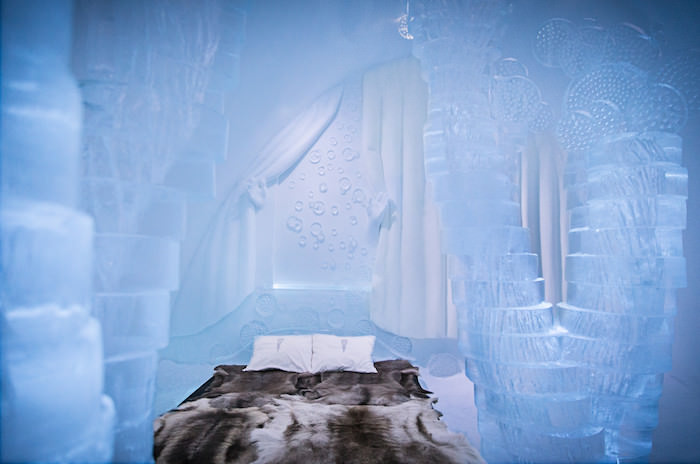 A dazzling blue suite in the Ice Hotelone of Scandanavia's most unique hotels