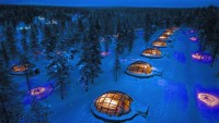 The warm lit igloos of Kakslauttanen, one of Scandanavia's most unique hotels