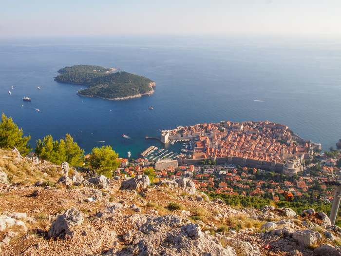 View of Lokrum Island and the Old Town from Mount Srđ in Dubrovnik