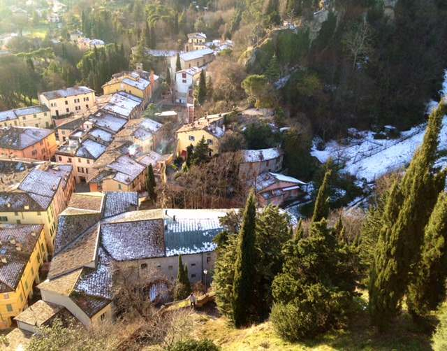 Snow-covered rooftops of Brisighella, Italy