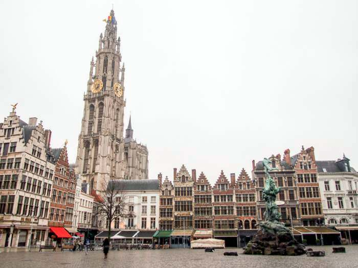 The Cathedral of Our Lady dominates the Antwerp skyline
