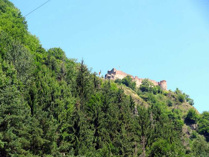 Poenari Castle as seen from the road below