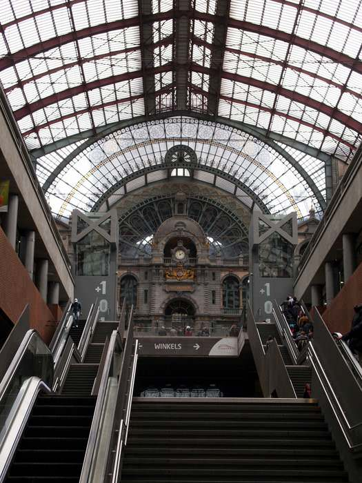 The rail station in Antwerp, Belgium, a Benelux country