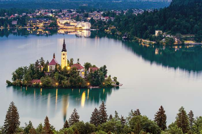 Island church in Bled, Slovenia, one of Europe's unique sights.