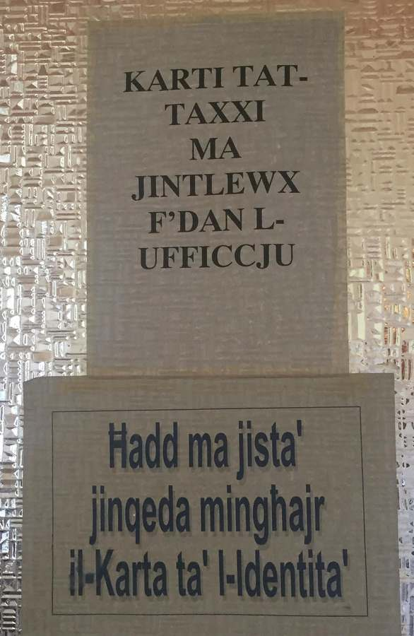 A taste of the unpronounceable Maltese language on a sign in Malta