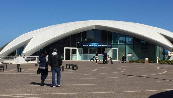 Entrance to the National Aquarium on St. Paul's Bay in Malta
