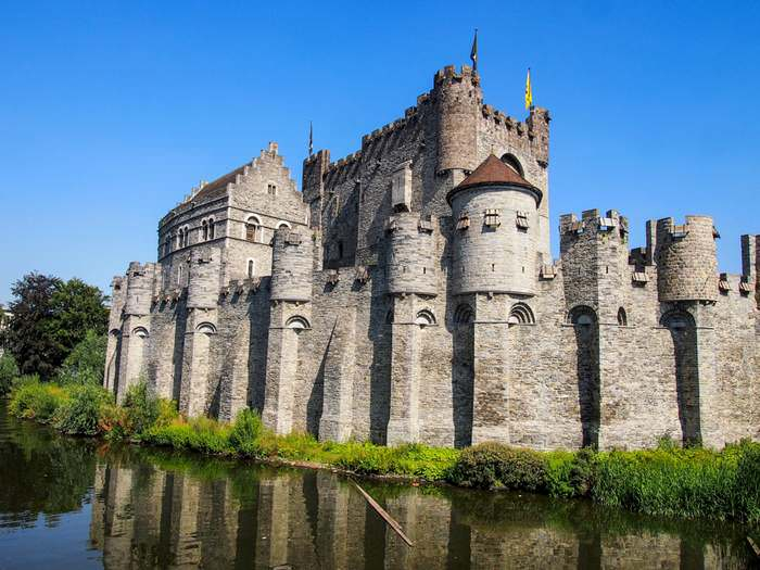 The mighty Gravensteen Castle stands in the heart of Ghent city center
