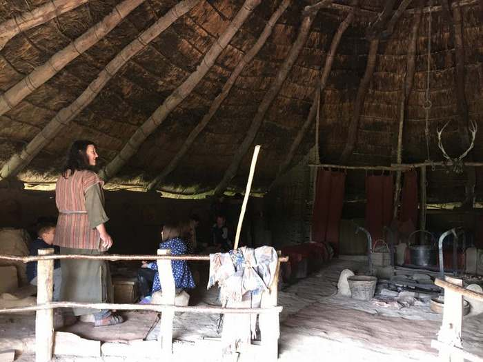 A cooking demonstration in a round house at Castell Henlyss