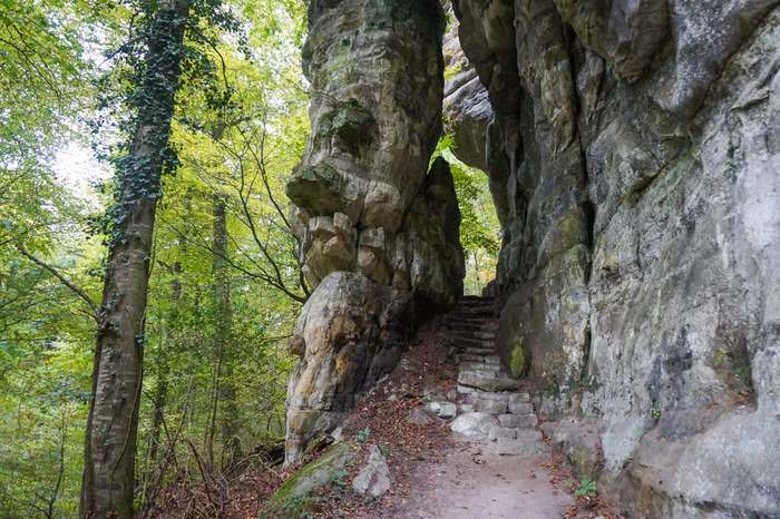 Rocky stairways characterize Route 2 of the Müllerthal Trail