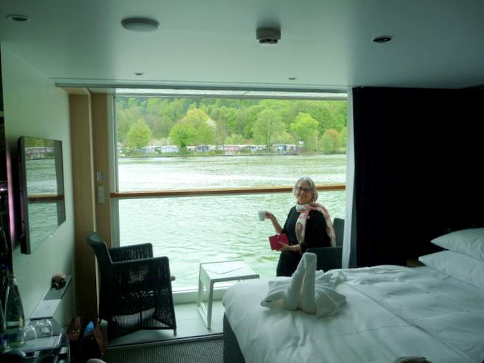 Enjoying the Sun Lounge on the Scenic Amber on our Europe River cruise
