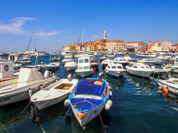 Beautiful view of Rovinj and its harbor in Istria