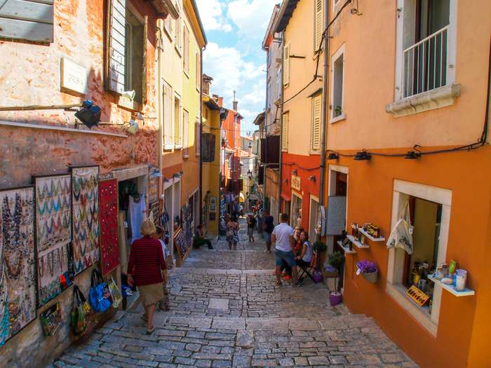 Typical cozy street in Rovinj, Istria