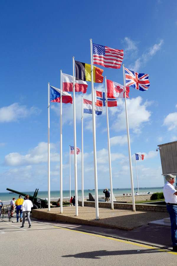 Allied Flags posted at Omaha Beach in Normandy