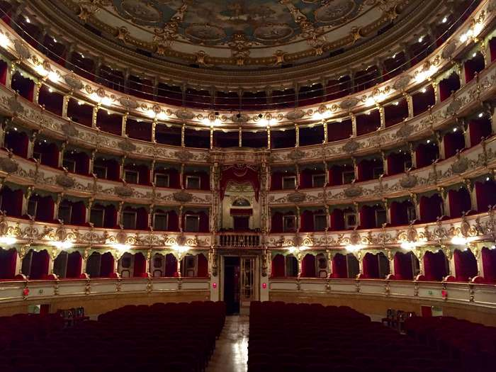 The opulent interior of Teatro Grandeshines during the Brescia Opera festival