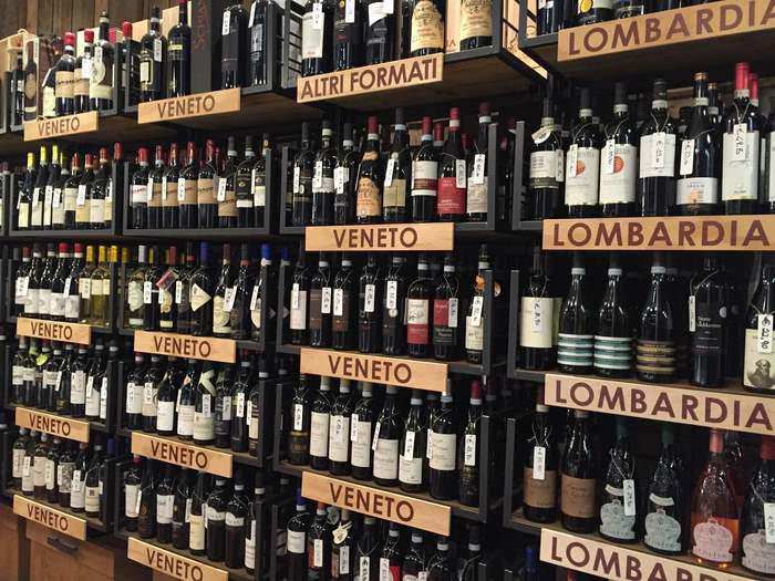 A wall of wine at Senorvino to compliment Brescia food