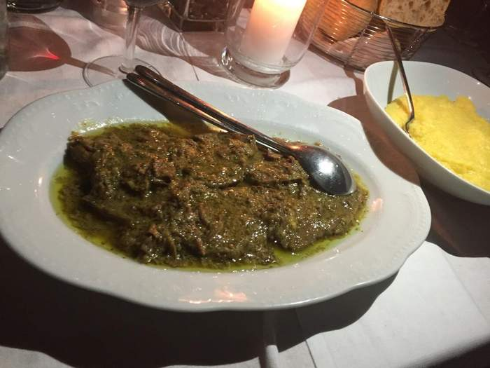 A glistening serving of manzo all'olio at Trattoria al Fontanone, a typical Brescia food.