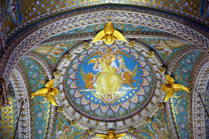 Detail of ceiling of the basilica in Lyon