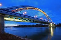 Bridge over the Danube at Night: Cycling the danube from Passau to Bratislava