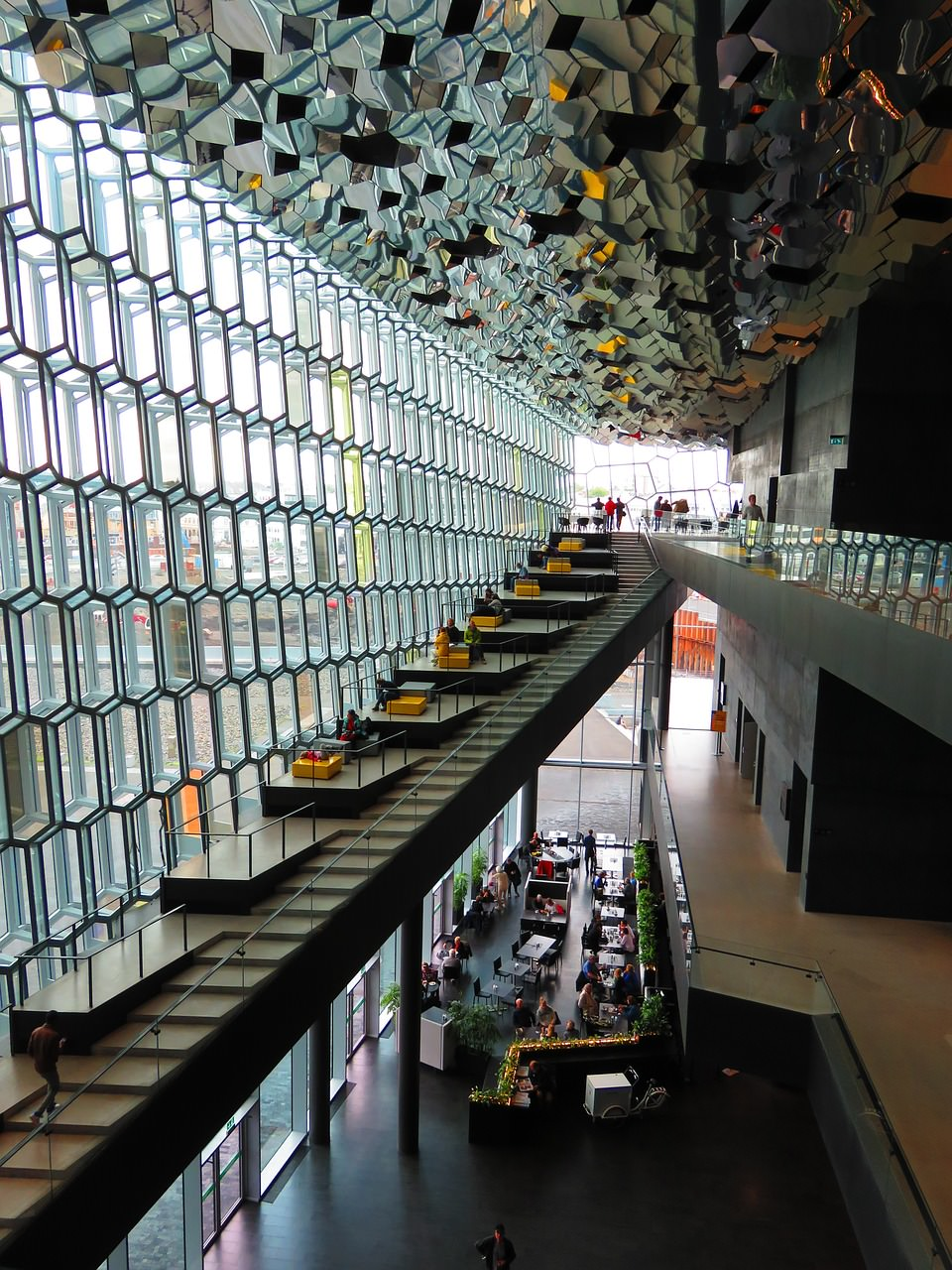 Inside of the Harpa Philharmony Iceland with modern glass architecture