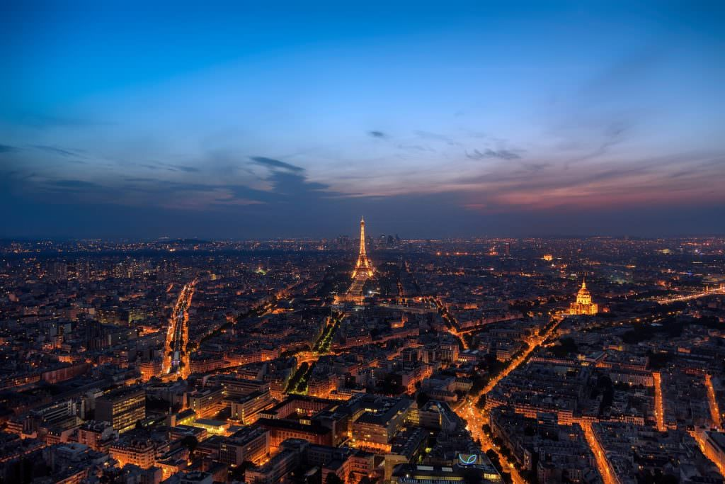 Paris at Dusk from a Birds eye view- Luxury Vacation Ideas in France