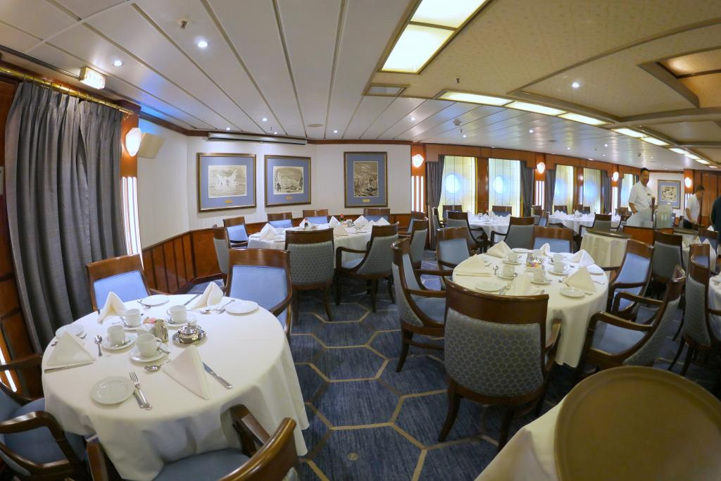 Arctic Cruise Greenland: Fisheye view of the dining room ©2017 K.D. Leperi