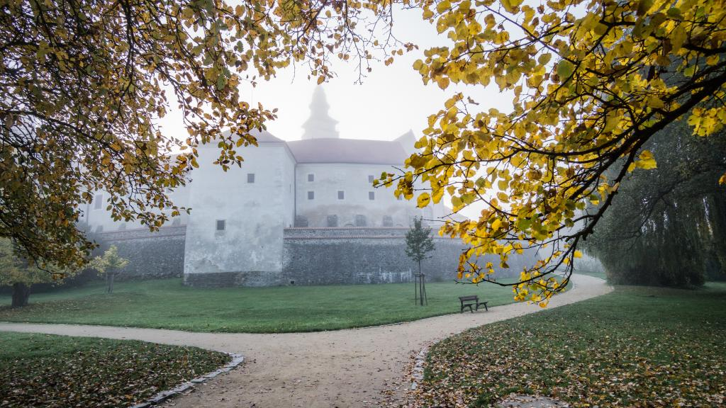Fall Morning in the Castle Park in Telc, a UNESCO World Heritage Site - Visit Czech Republic in the Fall