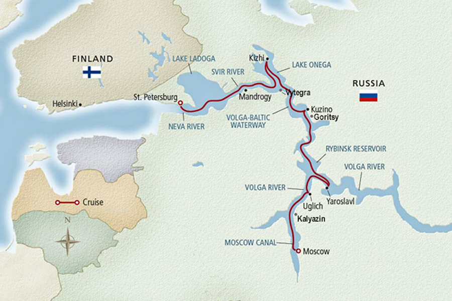 Russian River Cruise from Moscow to St Petersburg Cruise Map