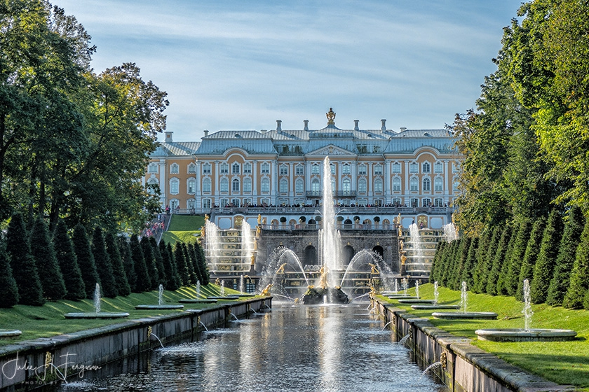 Gardens at Peter the Great's magnificent Peterhof Palace in St. Petersburg Russia