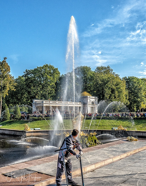 Famous Samson Fountain at Peter the Great's magnificent Peterhof Palace