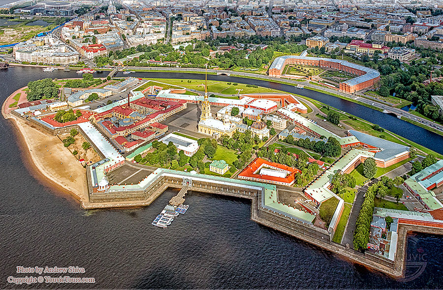 Aerial of St Petersburg fortress Used with Permission of ©Youvictours