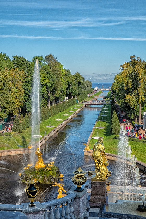 Gardens from the above the Grand Cascades with Cupola at Peter the Great's Peterhof Palace in St. Petersburg Russia