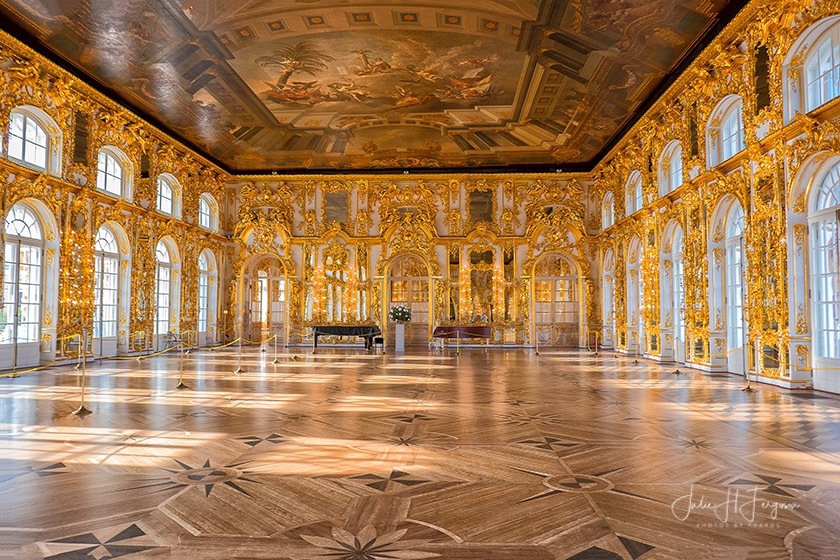 The Great Hall at the Catherine Palace at Pushkin near St. Petersburg Russia