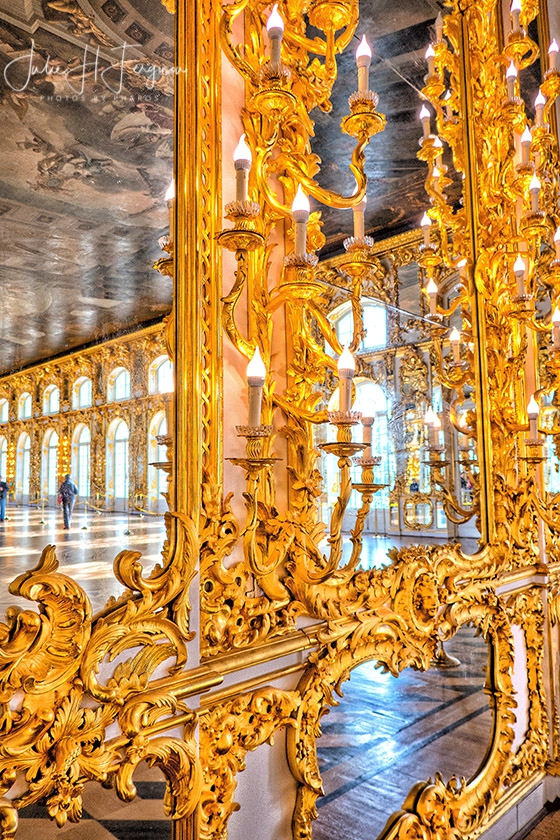 Gold mirrors at Great Hall at the Catherine Palace at Pushkin near St. Petersburg Russia