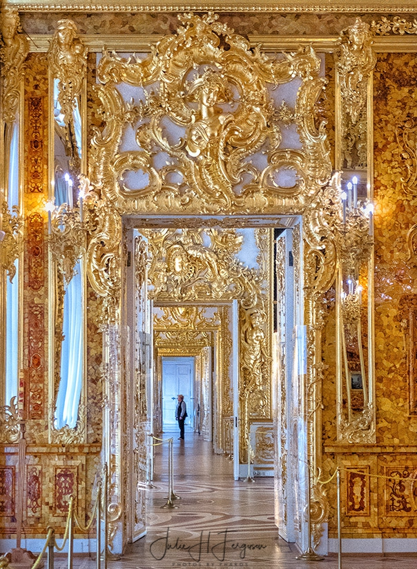 Golden Enfilade at Great Hall at the Catherine Palace at Pushkin near St. Petersburg