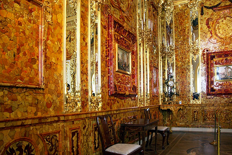 Amber Room at Great Hall at the Catherine Palace at Pushkin near St. Petersburg in Russia